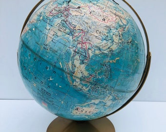 """Vintage, World Globe, Denoyer-Geppert, Times Mirror, Visual Relief, 12"""" Table, Desk Globe, Double Metal Cage to Spin Upright or on Side"""