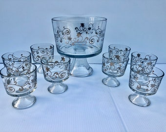 Vintage, Trifle Set, 9 Piece Set, Rare, MCM Clear Trifle, Pedestal Bowl with Silver Metallic, Flower Border and 8 Matching Serving Dishes