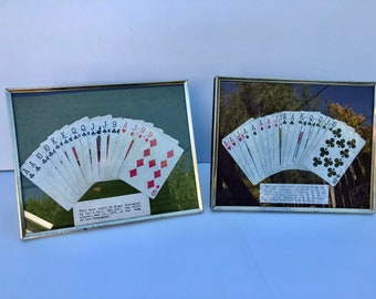 Vintage, Framed Playing Card Suites of Hand Dealt to a Player in the 1970s, Authentic Cards on Felt Background with Gold Metal Frames, Games