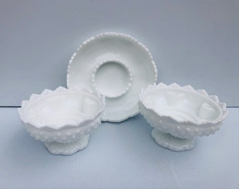 Vintage, Fenton Glass, Candle Bowls, Set of Three, Milk Glass, Hobnail, Candle Holders in Pristine Condition, 2 Pedestal Bowls, 1 Large Bowl