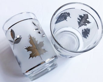 VINTAGE | 16-piece frosted beverage glass with silver harvest leaves