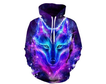 32f01c0c54ba Creative Cosmos Wolf Paint All Over Print Hoodie