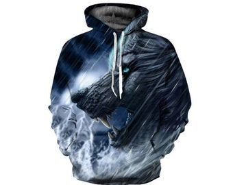 131ebf5a73ea Creative Colorful Wild Wolf Paint All Over Print Hoodie