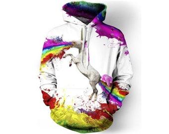 Peinture créative coloré licorne sauvage entier sweat à capuche impression    Cool 3D qualité sweat   Cadeau   Adultes et adolescents unisexe    LIVRAISON ... 3f8dd8eb29fe