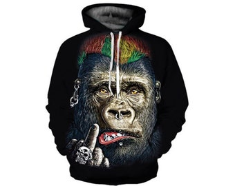 367529140fad Creative Wild Monkey Paint All Over Print Hoodie