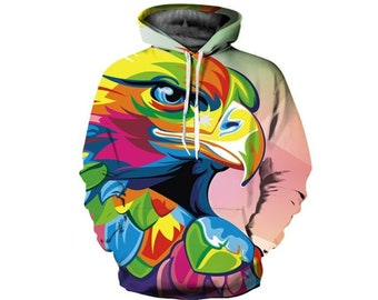 4844d5abbeeb Creative Colorful Bird Parrot Paint All Over Print Hoodie