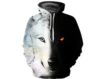 6b0e4f83 Creative B&W Winter Wolf Husky Paint All Over Print Hoodie | Cool 3D  Quality Sweatshirt | Gift | Adults and Teenagers Unisex | FREE SHIPPING