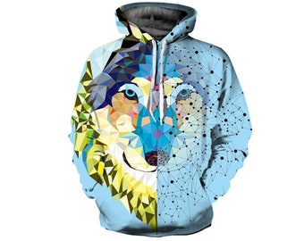 a7e7512313ef Creative Colorful Wolf Husky Paint All Over Print Hoodie