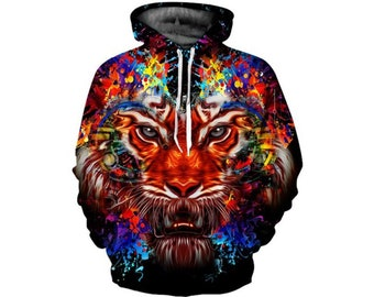 0c560c1cbd1 Creative Colorful Wild Tiger Paint All Over Print Hoodie