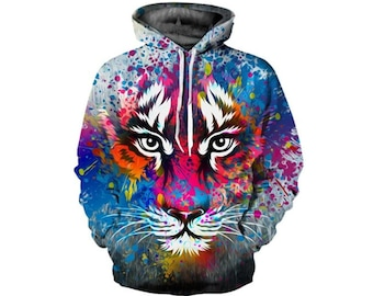 ea308a48a1b Creative Wild Tiger Paint All Over Print Hoodie