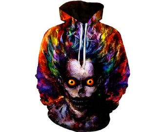 10cd570008b0 Creative Colorful Scary Skull Man Paint All Over Print Hoodie