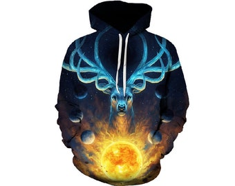 71e272b2 Creative Colorful Wild Fire Deer All Over Print Hoodie | Cool 3D Quality  Sweatshirt | Gift | Adults and Teenagers Unisex | FREE SHIPPING!