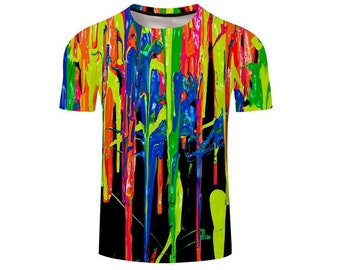 26197a2cdefd4 Creative Colorful Rainbow Paint All Over Print Tshirt   Cool 3D Quality T- Shirt   Gift   Adults and Teenagers Unisex T shirt   FREE SHIPPING