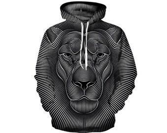 6bbd734e9c9d4 Création noir et blanc peinture Lion entier sweat à capuche impression