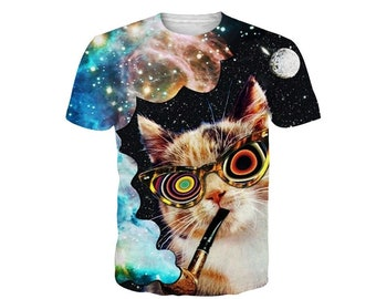 014e2d0aca36 Creative Crazy Galaxy Cat Animal All Over Print Tshirt