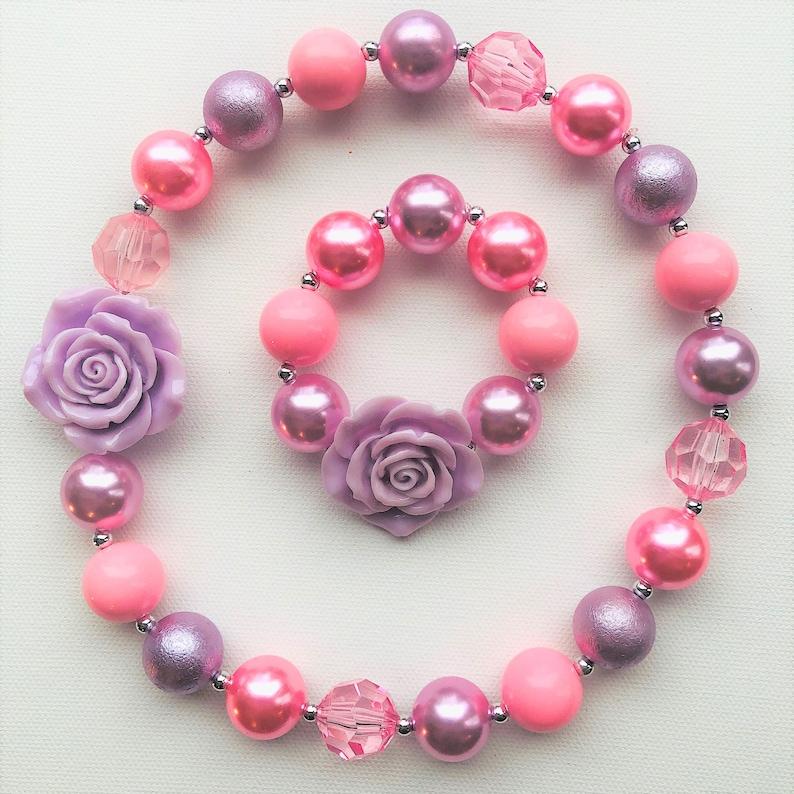 Toddler Necklace Photo Op Baby Necklace Girls Bubblegum Bead Necklace Lavender /& Pink Girls Chunky Bead Necklace Easter Necklace