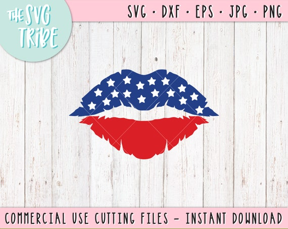 Usa America Lips Svg Eps Jpg Png Dxf Files For Cutting Etsy