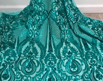 """e066a2d6 Teal green 4way Stretch Mesh w/Sequins Lace Fabric 50"""" Width Sold By the  Yard"""