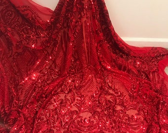 """Red 4way Stretch Mesh w red Sequins Lace Fabric 50"""" Width Sold By the Yard 689ddb207230"""