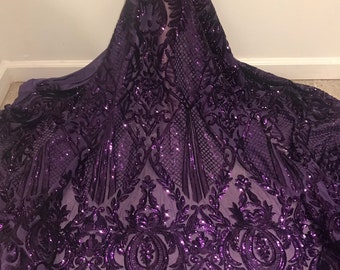 """6d6ff5a4 Purple 4way Stretch Mesh w/purple Sequins Lace Fabric 50"""" Width Sold By the  Yard"""