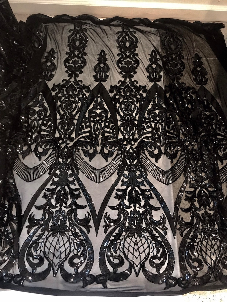 Black 4way Stretch Mesh wblack embrodery Sequins Lace Fabric 50\u201d Width Sold By the Yard