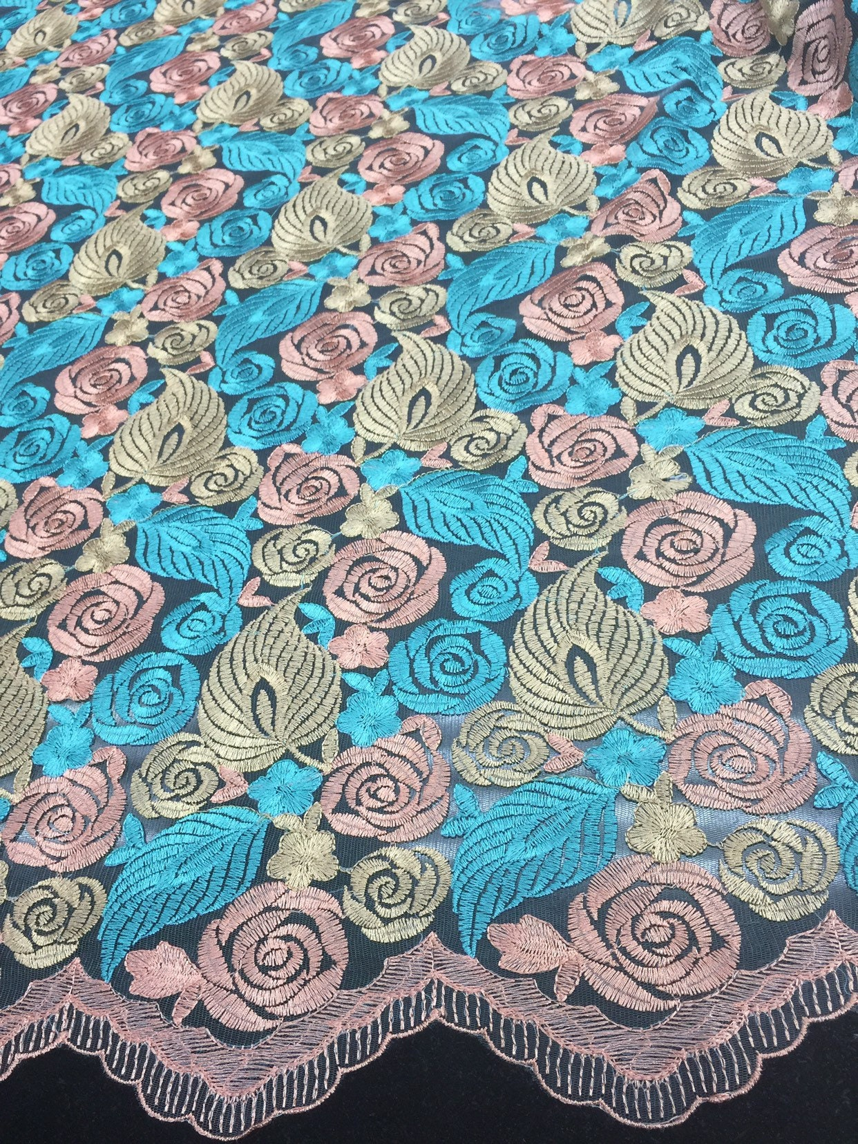 """Sea Foam embroidery  Sequins On Mesh Lace Fabric 50"""" Width Sold By The Yard"""