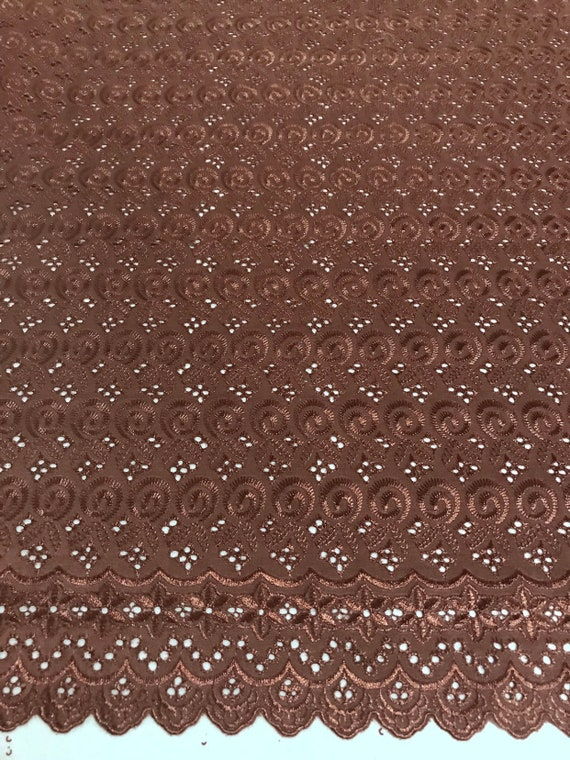 """Light Gray Cotton Eyelet Embroidered Fabric 44"""" Width Sold By The Yard"""
