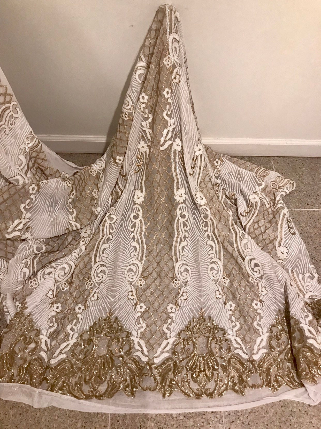 """Ivory Gold Corded Embroidered  Sequins Lace Fabric 50"""" Width Sold By The Yard"""