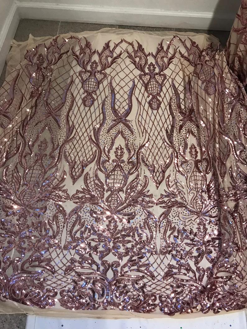 Gold 4way Stretch Mesh wrose pink  Sequins Lace Fabric 50\u201d Width 1 Yard