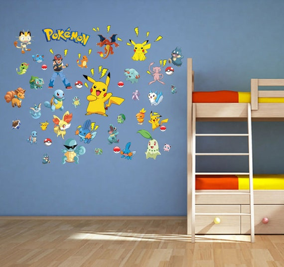 pokemon go game characters wall decal poster art wall stickers | etsy