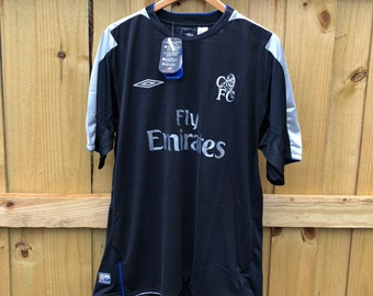 on sale 7fc64 68686 New w  Tags Vintage 2004 Chelsea F.C. Umbro Black Soccer Jersey Mens XL