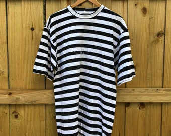 74bb5fd951 Vintage 1990's GUESS USA George Marciano Black/White Striped Shirt Mens  Large