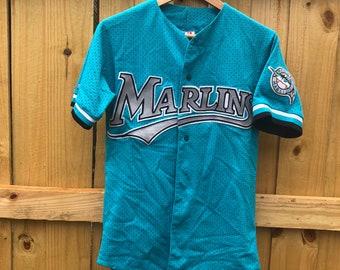5d6613daa58dd1 Vintage Florida Marlins Mesh Teal Majestic Baseball Jersey Mens Small