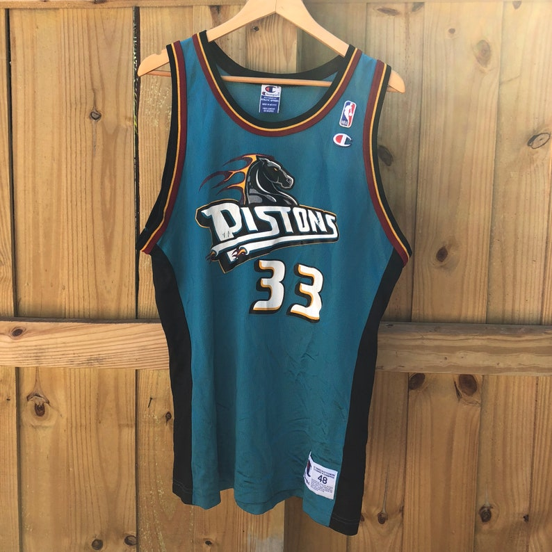the best attitude 84f7b e6e99 Vintage Grant Hill Detroit Pistons #33 Champion Teal Jersey Mens 48 XL
