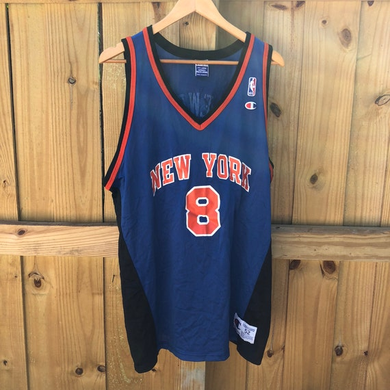 check out b9bf7 5497b Vintage Latrell Sprewell New York Knicks #8 Champion Blue Jersey Mens 52 2XL