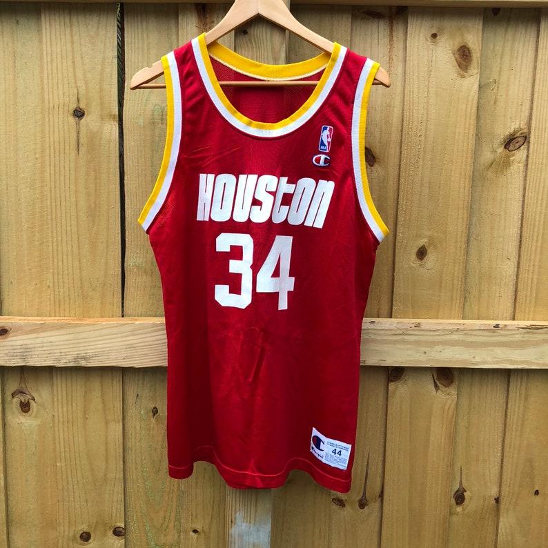 sports shoes bbbb0 291f1 Vintage Hakeem Olajuwon Houston Rockets #34 Champion Jersey Mens 44 Large