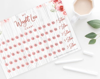 Weight Loss Chart - Wedding Weight Loss - Wedding Diet - Health - Floral - Rose Gold - 5 Stone