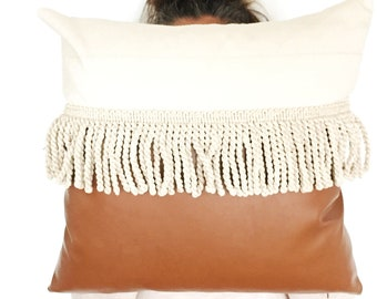 Boho Vegan leather  tassle pillow with Indian cotton