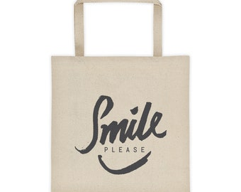 Smile please Bag, Designer Bag, Quotes on Bag, Modern Design, Calligraphy writing, Tote bag, Smile Please