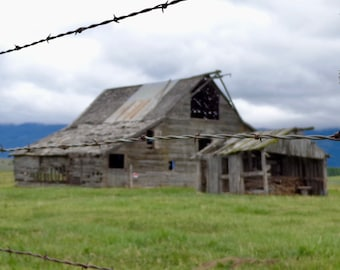barn and barbed wire