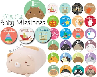 Baby Monthly Milestone Stickers and Cat Plush Stuffed Toy Monthly Milestones from Newborn to 1 Year, First Holidays Baby Stickers