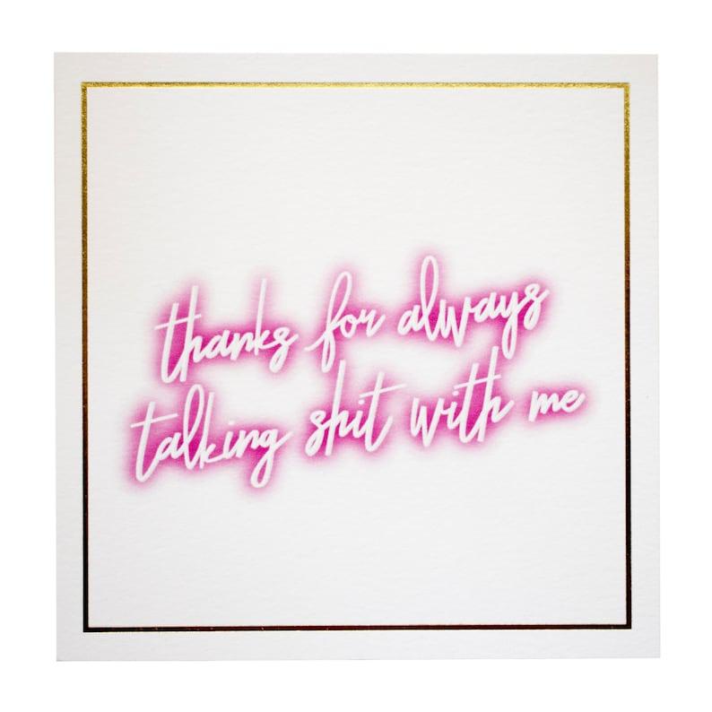 SHIT TALKER PRINT, talking shit quotes, shit talker product, art print,  shit talker card, neon lettering, neon sign, gold foil card, digital