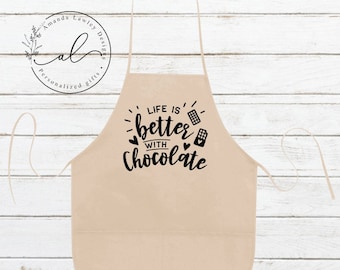 Funny Chocolate Apron, Funny Aprons, Funny Aprons for Women, Aprons with Pockets, Hostess Gift Ideas, Baking Gifts, Gift for Chocolate Lover
