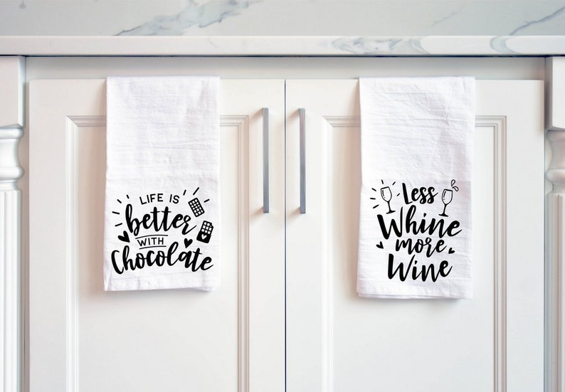 Wine and Chocolate Tea Towel Gift Set Funny Chocolate and image 0