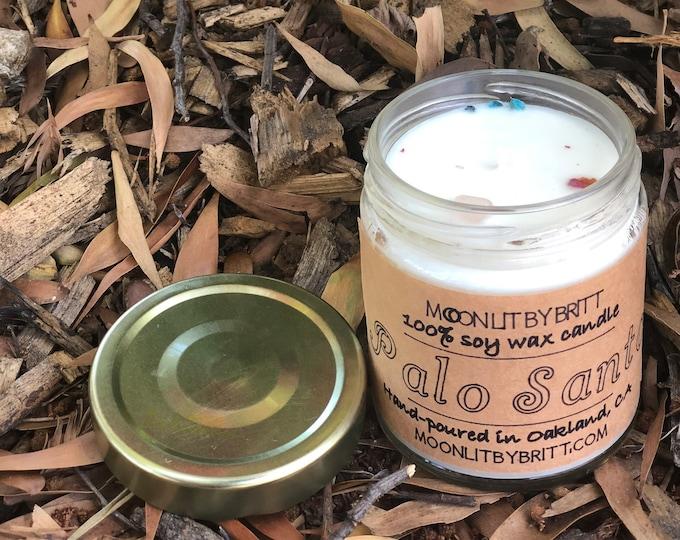 Palo Santo    8 oz All Natural Aromatherapy   Zero Waste Ritual 100% Soy Wax Candle   Sacred Healing