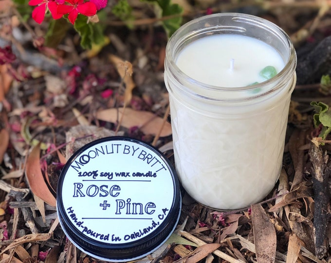 Rose + Pine || 8 oz All Natural Aromatherapy | Zero Waste Ritual Soy Wax Candle | Floral and Woodsy