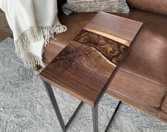 Black Walnut C-Table with Copper River
