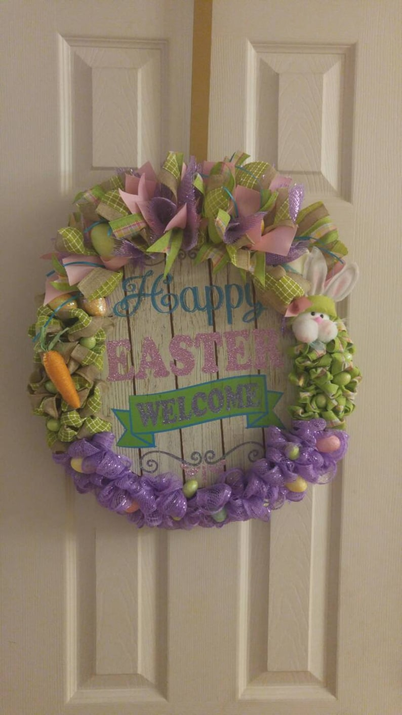 Oval shaped Happy Easter wreath for your front door.