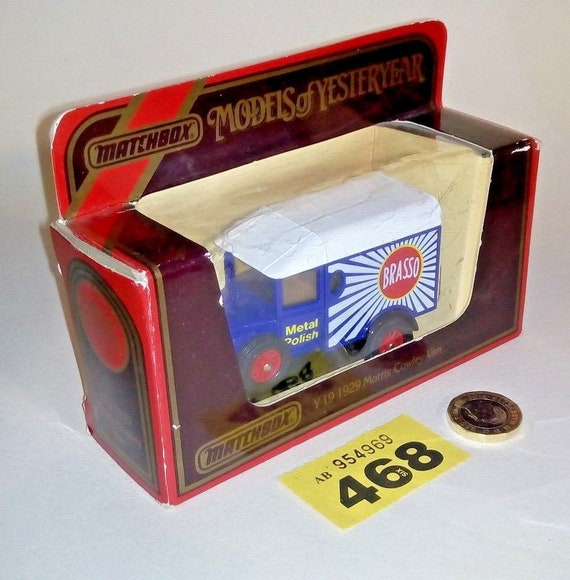 Boîte d'allumette Y-19 1929 Morris Cowley Van «Brasso» rétro Diecast voiture jouet