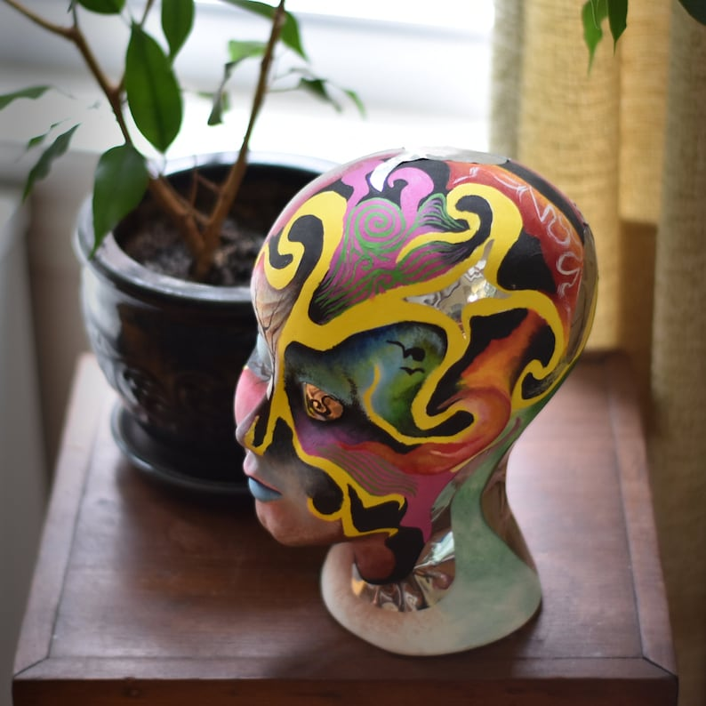 Hand Painted Collage Plaster Head Sculpture  Modern Decor  Psychedelic Art